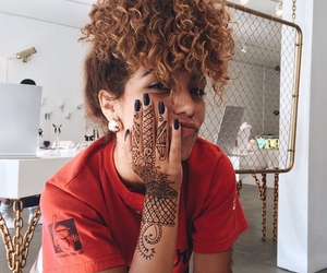 girl, henna, and curly image