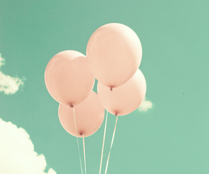 balloons, mint, and pastel image
