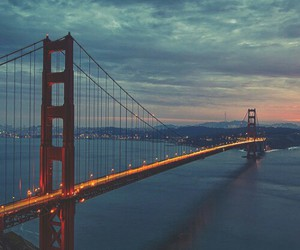 bridge, city, and lights image