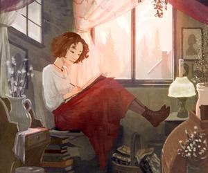 book, girl, and art image