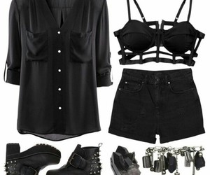 black, outfit, and dark image