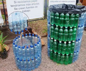 bottles, plastic bottles, and trash image