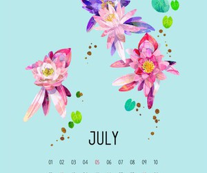 calendar, july, and flowers image
