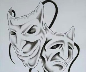 drawings, masks, and obsessed image