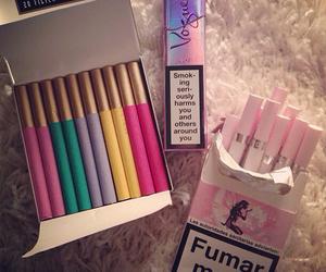 cigarette, smoke, and pink image