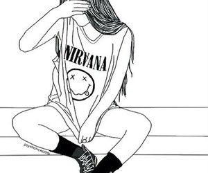 girl, nirvana, and outline image