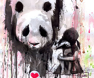 panda, heart, and art image