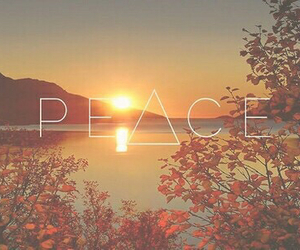 peace, sun, and sunset image