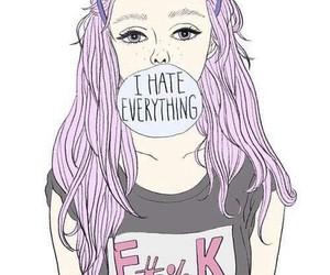 art, purple hair, and girl image