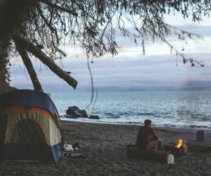 beach, sea, and fire image