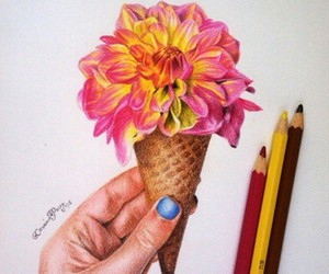 flowers, drawing, and ice cream image