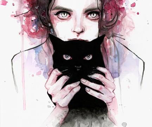 art, eyes, and watercolor image