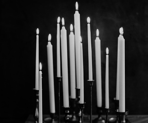 black and white and candle image