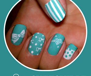 blue, bows, and nail art image