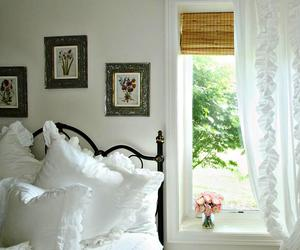 bedroom, country cottage, and white linens image