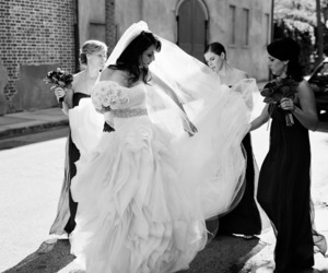 black and white, dress, and wedding image