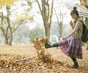 autumn, fashion, and kicking image