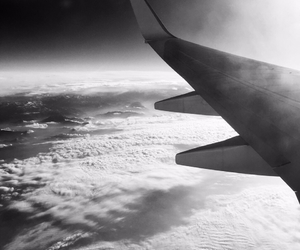airplane, blackandwhite, and clouds image