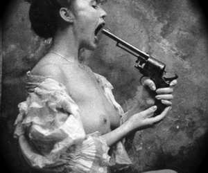black and white, boobs, and gun image
