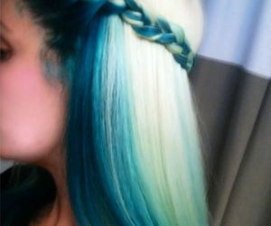 blue hair, grunge, and rubin extensions image