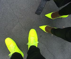 shoes, couple, and neon image