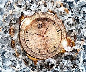 watch, diamond, and gold image
