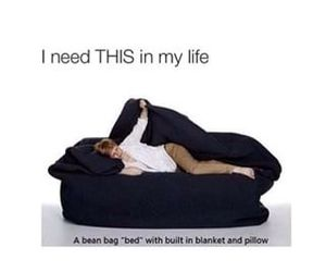 bed, need, and bean bag image