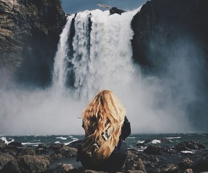 girl, waterfall, and nature image