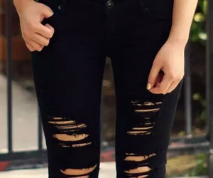 black jeans, jeans, and black image