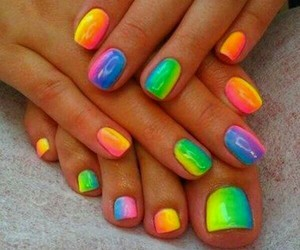 nails, rainbow, and colorful image