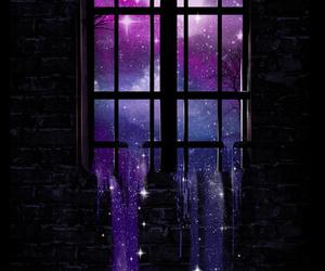 window, moon, and galaxy image