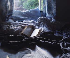 book, bed, and ravenclaw image