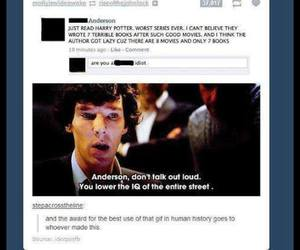 sherlock, funny, and harry potter image