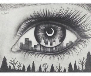 city, drawing, and eye image