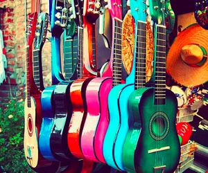 colorfull, colors, and guitar image