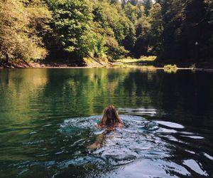 nature, lake, and swim image