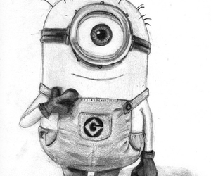 black and white, drawing, and minion image