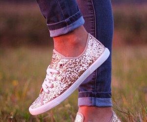 shoes, glitter, and gold image
