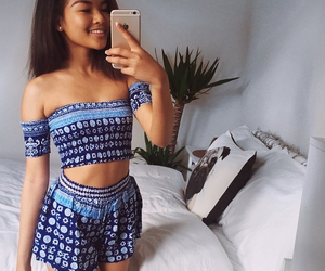blue, croptop, and love image