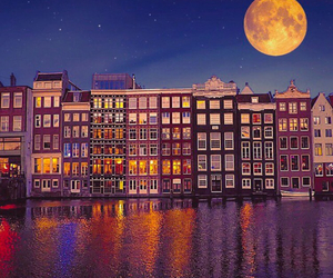 amsterdam, night, and architecture image