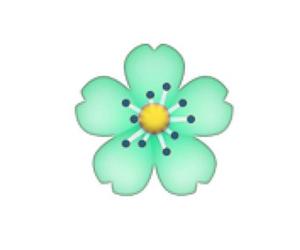 flower, mint green, and emoji image