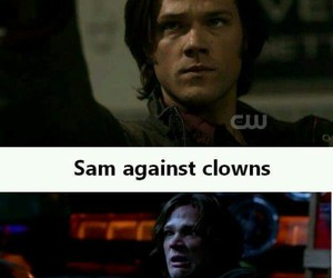 supernatural, sam winchester, and clown image