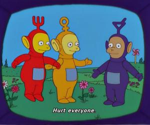 cartoon, teletubbies, and hurt image