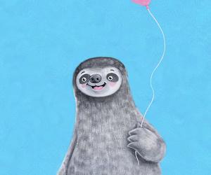 animal, ballon, and sloth image