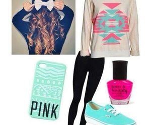 pink, outfit, and sweater image