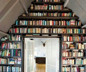 books, roof, and room image