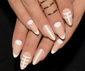geometric, nails, and Nude image