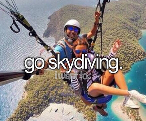 skydiving, goals, and bucket list image