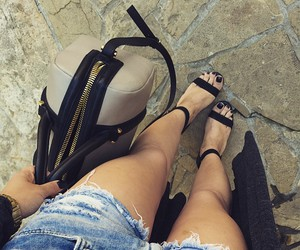 designer, black high heels, and designer handbags image