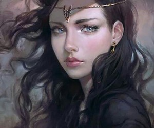 black hair, fantasy, and girl image